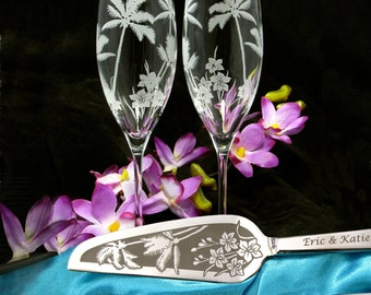 Personalized Wedding Cake Server and Knife, Champagne Flutes, Tropical Theme Wedding