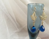 Golden Leaf with Dew Drops Earrings, Gold and Blue Earrings, Modern Jewelry, Party Jewelry, Wedding Jewelry