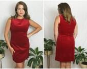SALE | 1990s Red Velvet Sheath Dress | Vintage 90s Holiday Dress | Large L