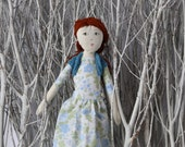 RESERVED Janalyn - Handmade Heirloom Cloth Rag Floral Knit Art Doll by the Evergreen Doll Company