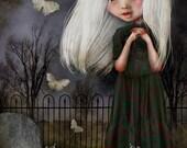 "ACEO ATC Artists Trading Card Mini Print - 'Pelottava' - Small Sized Artwork 2.5x3.5"" - Little Vampire girl in graveyard - Dark Blue"