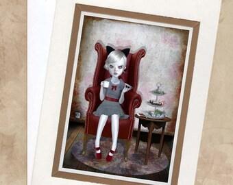 Blank Greeting Card & Envelope  - Big Eyed Girl Art - Little Madame