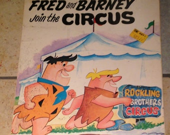 1972 Fred and Barney Join the Circus Book by Ottenheimer Publishers