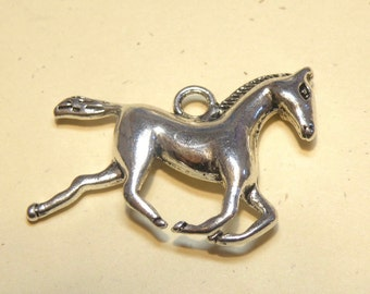 Two (2) Pewter Galloping Running Horse Charms