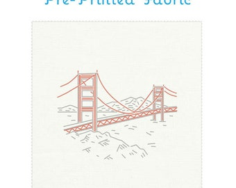 GOLDEN GATE BRIDGE embroidery fabric, pre-printed fabric, San Francisco embroidery, modern embroidery pattern, travel souvenir by Studiomme