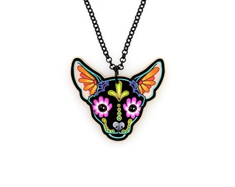 Chihuahua in Black Necklace - Day of the Dead Sugar Skull Dog Pendant