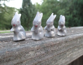 4 Vintage China Miniature Rabbits--Tiny Bunnies--Shabby Bunny--Mid Century Kitsch--Cottage Chic Kitschy--Fairy Garden--Terrarium Decor