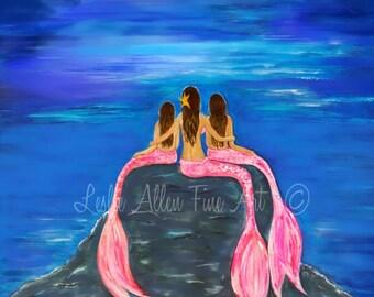 "Mermaid Art Print Little Mermaid Mother Daughters Mom Girls Sisters Little Girls Room Decor "" GORGEOUS MERMAIDS"" Leslie Allen Fine Art"