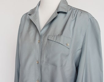 70's Polyester Blouse / Slate Blue / Ship 'n Shore / Button Front / Small to Medium