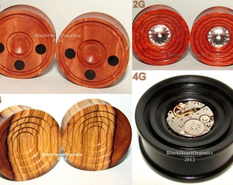 "Custom Wood Plugs, Grooved Examples / Organic Jewelry (7/16"" through 3"" +) (11mm through 76mm +), Hand Crafted, EXAMPLES of CUSTOM WORK"