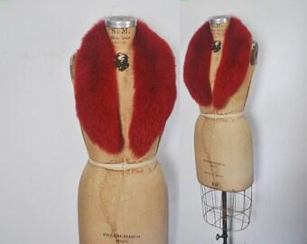 RARE RED Fox Fur Collar / 1980s