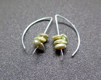 small pearl earrings with keshi pearls. green pearl jewelry. made in Canada