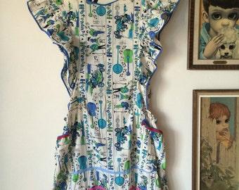 Vintage Hootenanny Dress Apron with Novelty Guys, Gals, Guitars, Banjos, Car Print Fabric 50's 60's Retro Rockabilly Fun