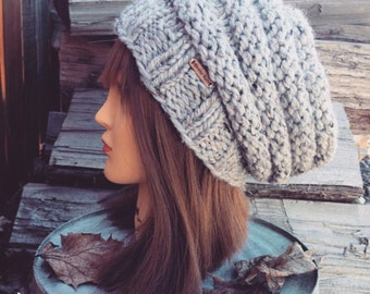 Womens Slouchy / Beanie Hat / Womens Slouch Hat / Slouch Beanie / Chunky Knit Beanie / Knit Slouchy Hat  /Chunky Knit Hat Womens Winter Hat