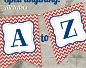 Ole Miss Hotty Toddy Chevron Printable Banner, Letters A-Z