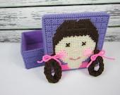 Girls jewelry Box, Purple box, brunette girl, doll accessory box, hair accessory box, Plastic Canvas Box, Childs Crayon Holder