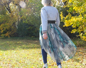 upcycled clothing, high low day robe . monet and me . XS - S