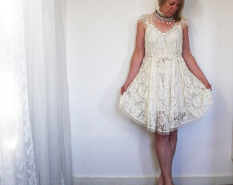 upcycled clothing . S - M . dress . chantilly