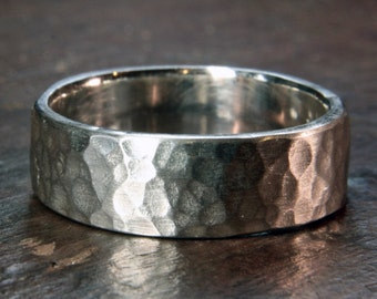 Recycled sterling silver wide wedding ring. 6, 8 or 10mm. Heavy planished finish. Hand made in the UK.