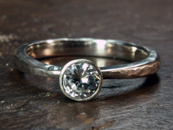 Something Blue - recycled silver, ethical lab grown moissanite & aquamarine engagement ring. Hand made to order in the UK