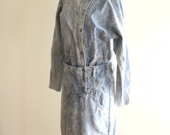 Rampage 80s ACID WASH asymmetrical snap front jean dress sz. Small / Medium