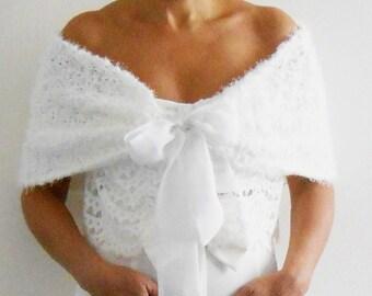 Bridal SHAWL CAPELET SHRUG White Knit Fur like Wedding Wrap with Sheer Organza Bow