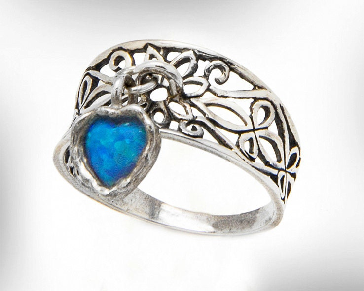 Sterling Silver Lace Ring For Women October Birthstone Heart