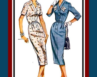 Vintage 1958-FITTED-TAILORED SHIRTDRESS-Sewing Pattern-Two Styles-Sexy Chic Fit-Belt-Fabric Flair-Shaped Bodice Band-Size 16-Rare