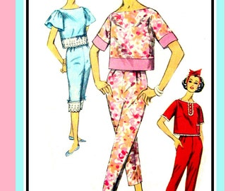 Vintage 1960s-PAJAMA PARTY-Sewing Pattern-Lounge –Play-Sleepwear- Crop Top-Pants-Flutter Sleeves-Lace-Contrast Bands-Uncut-Size 12-Rare