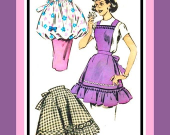 Vintage 1959-HOSTESS APRON COLLECTION-Sewing Pattern-Three Styles-Tea Harem Pouf-Pleated Flounce-Pinafore-Pom-Poms-Rick-Rack-One Size-Rare