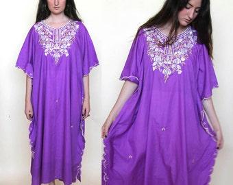 empress muumuu -- vintage 70's dramatic mumu caftan dress Size S/M/L