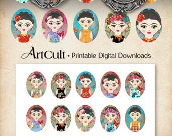 Oval 30x40 mm FRIDA KAHLO inspired Images Digital Sheet Printable Download for pendants bezel cabs magnets key chains paper craft Art Cult