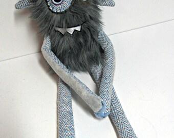 Happy Monster Plush - Handmade Plush Monster - Gray Faux Fur Monster - OOAK Monster Doll - Hand Embroidered Monster Toy - Weird Plush Toy