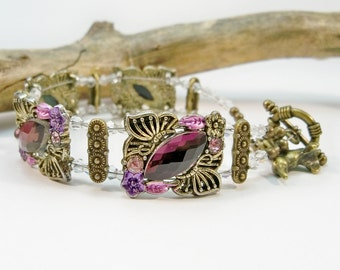 Bronze Bracelet, Purple Beaded Bracelet, Double Stand Bracelet, Crystal Bracelet, Gifts for Her, Cuff Bracelet, 2 Strand Bracelet,