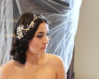 Bridal hair vine, Wedding headpiece, Gold hair vine, Leaf head piece, Wedding hair accessory, Bridal headband, Crystal hair vine, Rustic