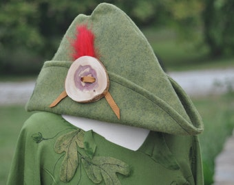 Woodland Peter Pan Robin Hood Green Felt Hat With Wooden Button Red Feather Leather  Laces Fits Size Youth to Adult