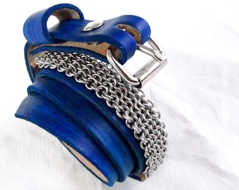 Chainmaille - Hand-Tooled - Blue Leather Belt