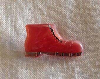 Realistic Glass Button - Soft Rusty Orange Boot - Czechoslovakian Glass Button - Moonglow Boot Glass Button