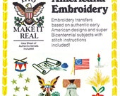 "Americana Embroidery Transfers! Vintage c. 1976 Butterick Transfer 4308, ""1776 Make it Real Americana Embroidery"" Bicentenial Motifs!"