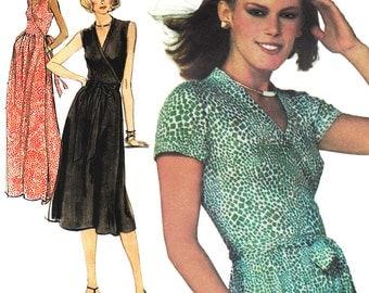 DVF Wrap Dress! Vintage '70s Very Easy Vogue American Designer Original by Diane von Furstenberg Sewing Pattern 1610, Misses' Dress, Size 12