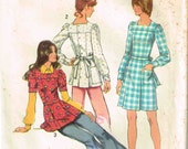 Square Neckline Back Button Dress Front Pleat Tunic Top Blouse Long Short Sleeves Vintage 1970 Simplicity 5405 Sewing Pattern Misses Size 12