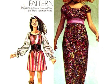 Vintage 1970s Hippie Boho Peasant Maxi Dress Sewing Pattern Simplicity 9471 Plus Size 8 10 Bust 31.5 32.5 Small Misses