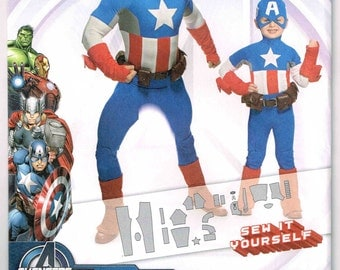 Childs Marvel Comic Avengers Super Hero Captain America Halloween Costume Simplicity 1030 Sewing Pattern Boys Children Size 3 4 5 6 7 8