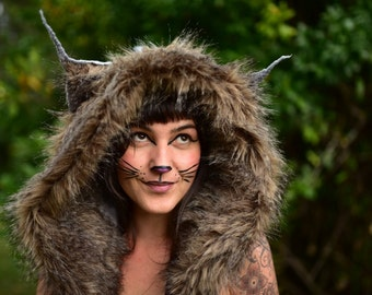 Felt Melted Pixie Woodland Cat Feline Animal Eared Hooded Bonnet Hat With Poms Poms OOAK