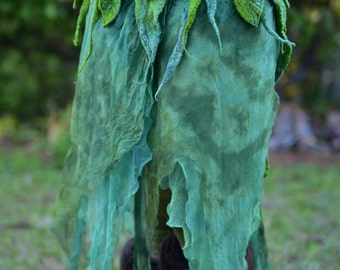 Nuno Felted Melted Pixie Woodland Nymph Forest Fairy Leaf And Vines With Silk Belt Skirt OOAK