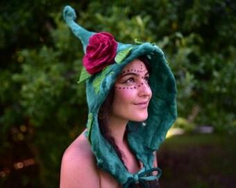 Felt Flower Hat-Woodland Head Wear-Pixie Hood-Bonnet-Fairy Costume-Flower Hat-Witches Hat-Festival Wear-Burning Man-Performance Costume OOAK