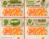 INSTANT DOWNLOAD Halloween Zombie Treat Topper Combo Pack Candy Bag Topper Label homemade candy trick or treat bag boy's printable DIY