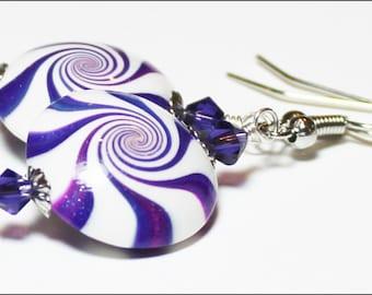 Magician... Handmade Beaded Jewelry Earrings Polymer Clay Crystal Beads Purple Plum Blue Silver Swirl Spiral Sparkle Lightweight