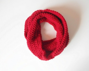 Crochet Circle Scarf in Red, Wrap Scarf, Cowl, ready to ship.