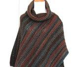 Crochet Poncho, Cowl Neck Cape, Women's Striped Poncho